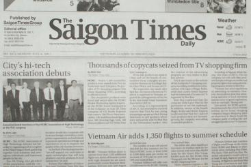 ĐẠI HỘI THÀNH LẬP HỘI CÔNG NGHỆ CAO TRÊN TỜ THE SAIGON TIMES DAILY